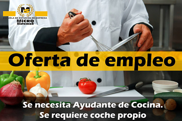Oferta de empleo: Se necesita Ayudante de Cocina en Lanzarote