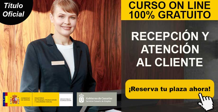 Curso online gratuito de Recepción y Atención al Cliente en Lanzarote